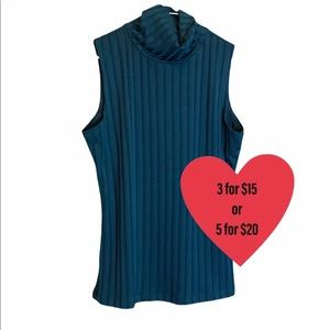 Beechers Brook teal blue tank turtleneck